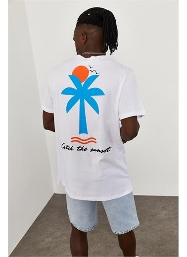 XHAN Sunset Basklı Oversize T-Shirt 1YXE1-45083-01 Beyaz